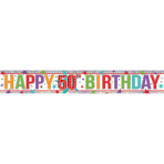 Multi Colour Happy 50th Birthday Holographic Foil Banners 2.7m - 12 PC