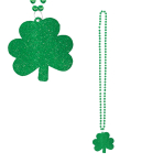 St. Patrick's Day Glitter Shamrock Necklaces 81cm - 24 PC