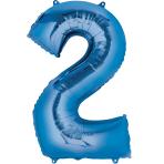 """Number 2 Blue Minishape Foil Balloons 16""""/""""40cm A04 - 5 PC"""