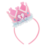 1st Birthday Pink Headband with Crown - 4 PC