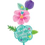 """Happy Mother's Day Fancy Flower XL Foil Mult-Balloons 40""""/101cm x 56""""/142cm P70 - 5 PC"""