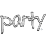 """Party"" Freestyle Silver Phrase Balloons 37""/93cm w x 16""/40cm h G40 - 5 PC"