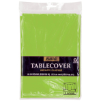 Kiwi Green Round Plastic Tablecovers 2.13m - 12 PC