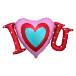 "I Heart You SuperShape Satin Luxe Foil Balloons 33""/83cm x 19""/48cm P35 - 5 PC"