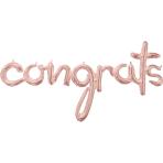 """""""Congrats"""" Rose Gold Script Phrase Foil Balloons 56""""/142cm w x 28""""/71cm h G40 - 5 PC"""