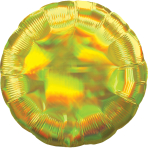 Yellow Iridescent Circle Standard HX Packaged Foil Balloons S40 - 5 PC