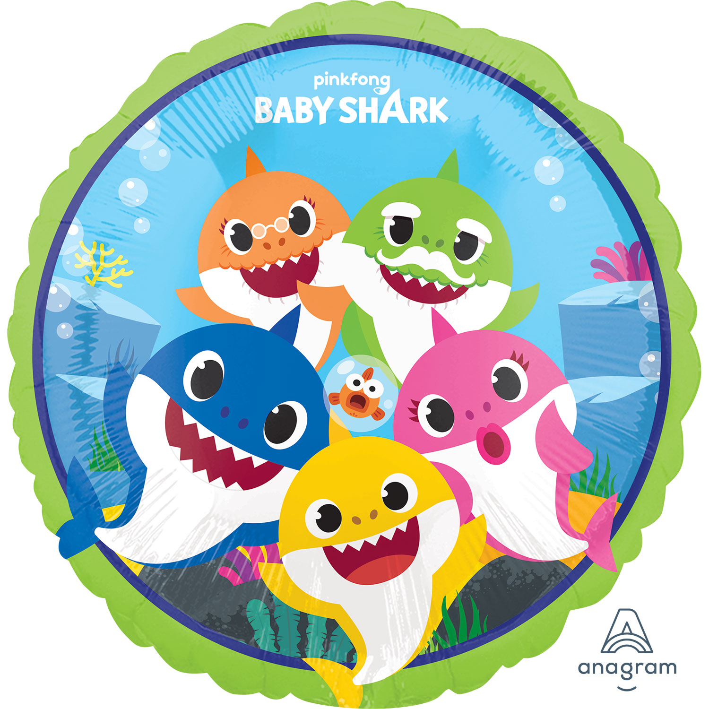 Baby Shark Standard Foil Balloons S60 5 Pc Amscan