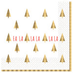 FA LA LA LA LA Hot Stamped Luncheon Napkins 33cm - 6 PKG/16