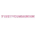 First Communion Pink Foil Letter Banner - 2.6m x 30.4cm - 12 PKG