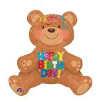 "Happy Birthday Sitting Bear Foil Multi-Balloons 17""/43cm x 19""/48cm A70 - 5 PC"