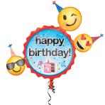 "Happy Birthday Emoticon Foil Supershape Balloons 24""/60cm x 24""/60cm P35 - 5 PC"