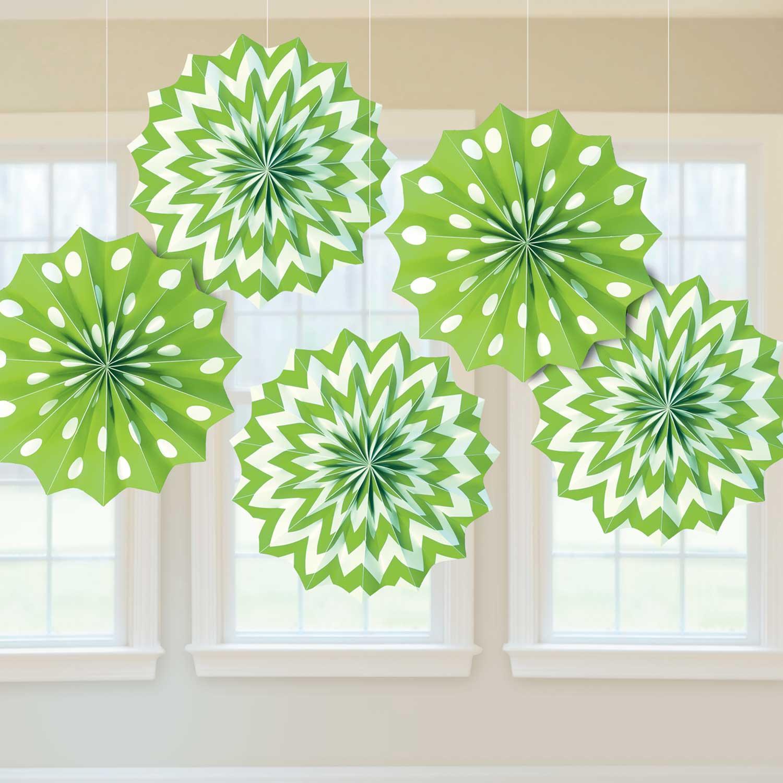 Kiwi green dots chevron paper fans 20cm 12 pkg 5 for Decoration kiwi