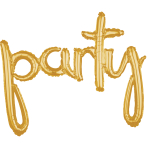 """Party"" Script Phrase Gold Foil Balloons 39""/99cm x 31""/78cm G40 - 5 PC"