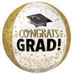 Congrats Gold Glitter Orbz Foil Balloons G20 - 5 PC