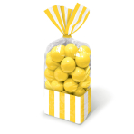 Sun Yellow Candy Buffet Striped Party Bags - 24 PKG/10