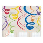 Rainbow Hanging Swirls Decorations 55cm - 6 PKG/12