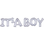 "It's A Boy"" Silver Holographic Block Phrase Foil Balloons G20 - 5 PC"