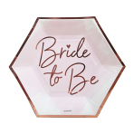 Team Bride Hexagonal Shaped Paper Plates 18cm - 6 PKG/8