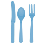 Powder Blue Cutlery Assortment    - 8pc Each of spoons, knives and forks - 12 PKG/24
