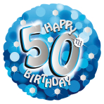 Blue Sparkle Party Happy Birthday 50th Standard Foil Balloons S40 - 5 PC