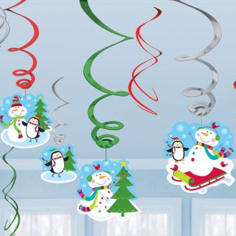 Joyful Snowman Value Pack Swirl Decorations - 12 PKG/12