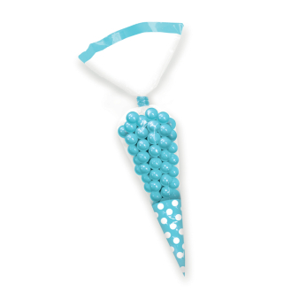 Caribbean Blue Candy Buffet Cone Polka Dots Bags - 24 PKG/10