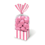 Candy Buffet Striped Party Bags Light Pink - 24 PKG/10