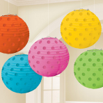 Multi Coloured Hot Stamped Paper Lanterns 12cm - 6 PKG/5