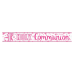 First Holy Communion Holographic Pink Banner 2.7m - 12 PC