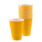 Sunshine Yellow Plastic Cups 355ml- 10 PKG/20