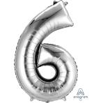 """Number 6 Silver SuperShape Foil Balloons 23""""/58cm w x 35""""/88cm h P50 - 5 PC"""