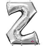 """Letter Z SuperShape Silver Foil Balloon 34""""/""""86cm P50 - 5 PC"""