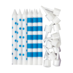 Bright Blue Dots & Stripes Candles - 12 PKG/12