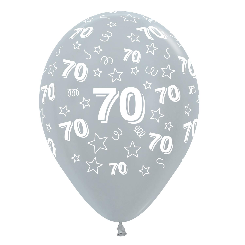 70th Birthday Stars Silver 481 Fuchsia 512 Black 580 Mix Latex Balloons 12 30cm