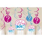 Girl or Boy Hanging Swirl Decorations 61cm - 9 PKG/12