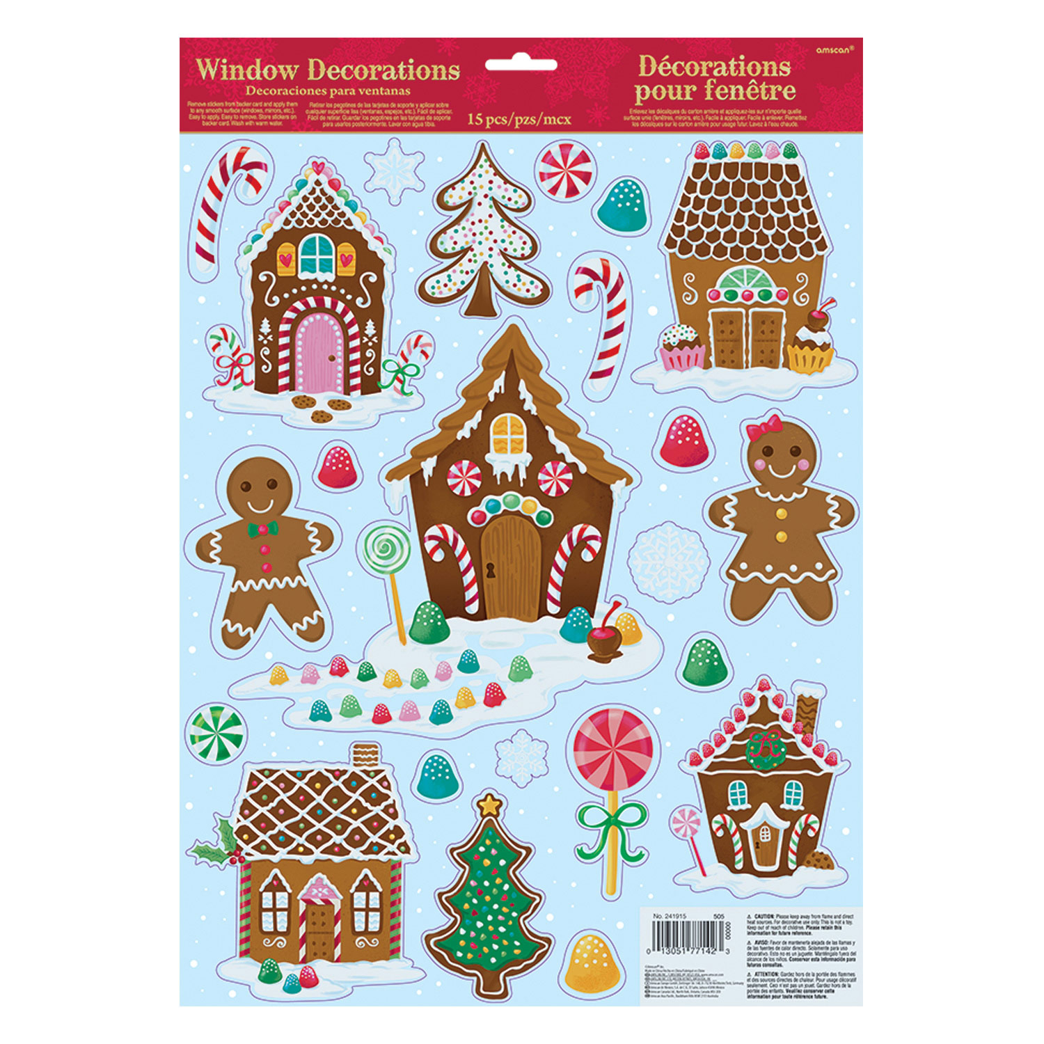 Gingerbread house vinyl window decorations 12 pc for Christmas window decorations clearance