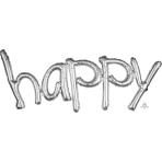 """Happy"" Freestyle Silver Phrase Balloons 41""/104cm w x 20""/50cm h G40 - 5 PC"