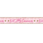 Pink First Holy Communion Foil Banners 2.7m x 20cm - 6 PC