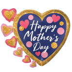 """Happy Mother's Day Pink & Navy Glitter Dots SuperShape Foil Balloons 24""""/60cm w x 20""""/50cm h P35 - 5 PC"""