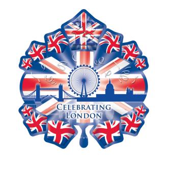 "Great Britain Starburst Skyline SuperShape Foil Balloons 31""/79cm w x 28""/71cm h P35 - 5 PC"