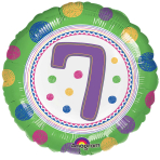 SpotOn 7th Happy Birthday Standard Foil Balloons S40 - 5 PC