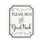 Please Sign our Guest Book MDF Signs 18cm x 23cm x 2cm - 6 PC