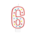 Giant Size Numeral Candles 13.3cm #6 - 12 PC