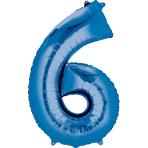 """Number 6 Blue Minishape Foil Balloons 16""""/""""40cm A04 - 5 PC"""