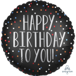 Happy Birthday To You Satin Dots Standard XL Foil Balloons S40 - 5 PC