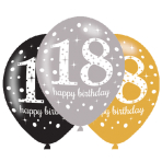 """Gold Sparkling Celebration 18th Latex Balloons 21""""/27cm - 6 PKG/6"""