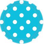 Caribbean Blue Dots Paper Plates 18cm - 12 PKG/8