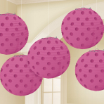 Bright Pink Hot Stamped Paper Lanterns 12cm - 6 PKG/5