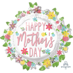 "Happy Mother's Day Wreath SuperShape XL Foil Balloons 30""/76cm w x 28""/71cm h P35 - 5 PC"