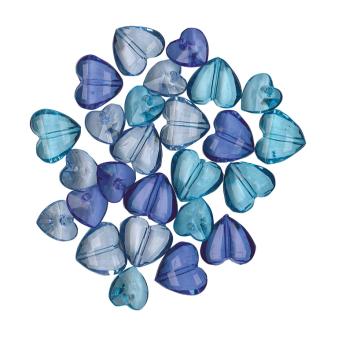 Gems Acrylic Blue, Dark Blue & Light Blue Hearts 28g - 6 PC